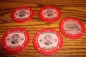 #5 Five  Abraham Lincoln $5.00 Poker Chips, Golf Ball Marker - Card Guard  Red