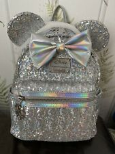 More details for loungefly disney holographic sequin mini backpack bnwt