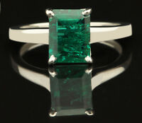 14KT White Gold 100% Natural Green Emerald 1.45CT Octagon Shape Solitaire Ring