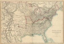 CIVIL WAR USA showing Union Confederate & Border states. ETTLING 1863 old map