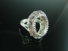 6081 Ring Setting Sterling Silver Size 5.75, 14x12mm Oval Thin Girdle Gemstone