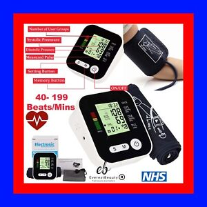 Digital Automatic Blood Pressure Monitor Upper Arm Meter Intellisense 180 Memory
