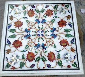 12 Inches White Marble Table Top with Shiny Gemstones Art Coffee Table for Home