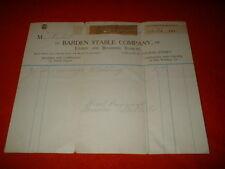 Vintage 1911 Barden Stable Company Receipt Invoice Philadelphia PA  Horse Livery