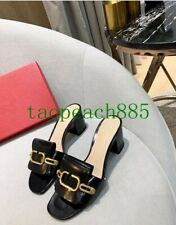 Women's Patent Leather Buckle Chain Block Heel Slippers Sandals Open Toe Mules