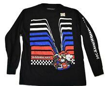 Mario Kart Youth Boys Black Mario Kart Long Sleeve Shirt New S, M, L, XL