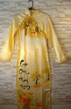 Handmade QiPao Silk Cheongsam Chinese Women's Evening Party Long Dress Yellow
