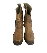 Vic Matie Womens 38 Harness Brown Leather Distressed Pull On Calf Western Boots