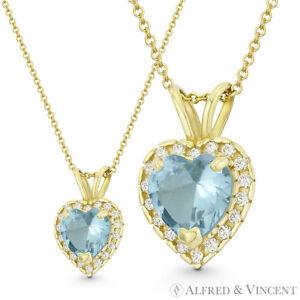 Heart Love Charm Faux Aquamarine Blue CZ Crystal 14k Yellow Gold 13x9mm Pendant