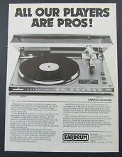 1980 EARDRUM Boston Area Stereo/Electronics Stores AIWA TURNTABLE Magazine Ad