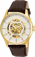 New Mens Invicta 22595 Objet D Art Automatic Skeleton Dial Brown Leather Watch