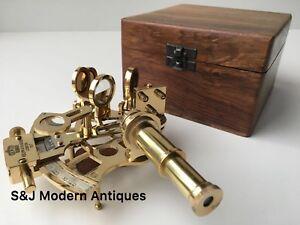 Antique Brass Pocket Sextant Navigation Nautical Marine Vintage Wooden Box