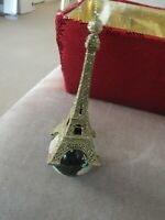 New Gold Glitter Eiffel Tower on Globe Paris France Travel  Christmas Ornament