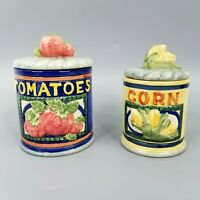 Tomatoes Corn Small Canisters Vegetable 2 Piece Set Vintage Ceramic Retro Whimsy