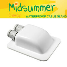 WHITE Waterproof Twin Double Cable Roof Entry Gland caravan motorhome boat