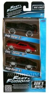 Fast and Furious Dom's Rides Dodge Chargers and Chevelle 3 Pack Set 1/55 Diecast