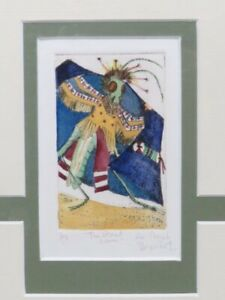 Susi Nagoda Bergquist Grasshopper Looks For Girls Signed #d Hand Tinted Etching