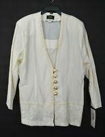 Vintage NOS Shawn Design Women Cream Lace Blazer Gold Button Front Jacket 22