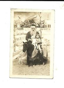 Vintage Real Photo Santa Postcard With Horse, Girl, Doll & Toy Zeppelin