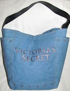 Victorias Secret Light Blue Denim Rose Gold Extra Large Tote Gym Travel Book Bag