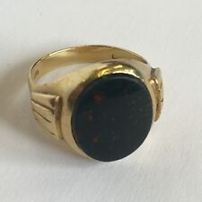 Vintage Oro Amarillo 18ct para hombres Bloodstone Pinky Signet Anillo Tamaño J 1/2 - K