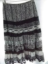 vtg maxi long peasant skirt sz L brown floral ruffle tiered lace pull on MINT