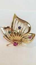 Butterfly 14k gold brooch, ruby, emerald, pearl & sapphire