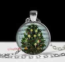 Vintage Christmas Tree  Cabochon  Tibetan silver Glass Chain Pendant Necklace