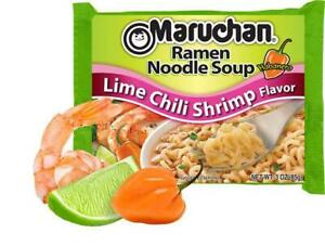 24 Packs Maruchan Lime Chili Shrimp Instant Ramen 3 oz Complex Flavor Meal New