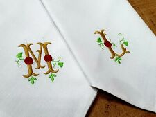 WEDDING NAPKINS, PERSONALISED EMBROIDERY. Set of 6