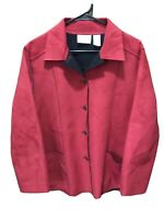 Women's ALFRED DUNNER Red Faux Suede Jacket Button Up Sz 16 P Petite