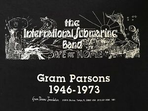 VINTAGE 90's THE INT'L SUBMARINE BAND SAFE AT HOME-GRAM PARSONS-T-SHIRT-XL-RARE