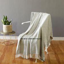 100% algodón gris natural tejido espiga Sillón Cama Manta lanza con flecos