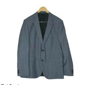 Boss by Hugo Boss Blue Pin Stripe Two Button Virgin Wool Jacket Size UK 50 US 40