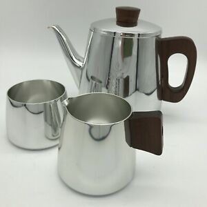Vintage Sona Tea/Coffee Set, Milk Jug, Sugar Bowl And Tea Pot With Teak Handles