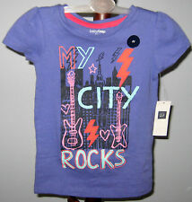 "New babyGap Size 2T Purple Short Sleeves ""My City Rocks"" Tops ~ Shirt"
