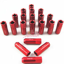 20 RED 60MM ALUMINUM EXTENDED TUNER LUG NUTS LUGS FOR WHEELS/RIMS M12X1.25 RD