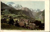 Wengen Schweiz alte Postkarte~1900 color Gesamtansicht Panorama mit Bergen