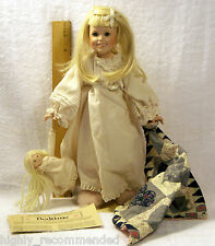 "Danbury Mint 13"" Bisque Porcelain Doll - BEDTIME w/Security Blank & Rag Doll"