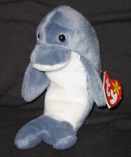 TY ECHO the DOLPHIN BEANIE BABY - MINT with CREASE on TAG - SEE PICS
