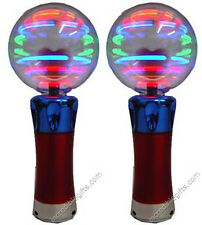 "MAGIC SPINNING LIGHT- UP WAND CRAZY FLASHING DISCO BALL PARTY TOY 7.5"" (2-PACK)"