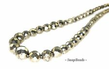IRON PYRITE GEMSTONE GRADATED FACETED ROUND 4MM-12MM LOOSE BEADS 16""