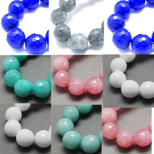 """15""""Strd Natural Jade Beads Faceted Gemstone Beads Round 8mm Craft Pick Color"""