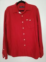 Polo Ralph Lauren Mens Red Flannel Button-Front Shirt Size Large EUC