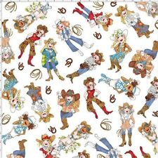 fdfae1a8e Fabric Loralie Designs Tossed Cowgirls White 100 Cotton by The Yard