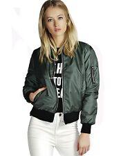 Fashion Women Casual Baseball Jacket Zipper College Sport Varsity Coat Outwear