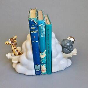 VTG Quon Quon QQ Ceramic Bookends, Giraffe and Hippo Flying Airplane in Clouds