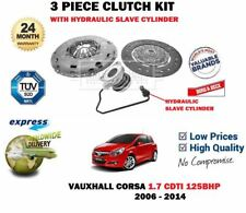 FOR VAUXHALL CORSA D 1.7 CDTI 125BHP 2006-> 3 PIECE CLUTCH KIT + SLAVE CYLINDER