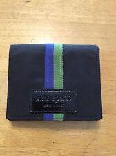 KATE SPADE NEW YORK Black Patent Stripe Green Blue Nylon WALLET Compartments