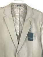 Madison Modern Fit 44L Mens Khaki Stripe Blazer Sport Coat Jacket Tan Suit Coat